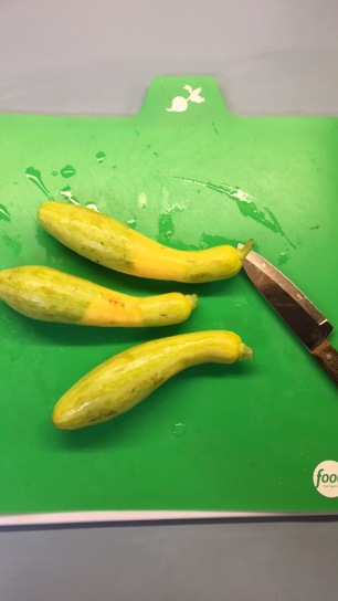 Some type of squash...treat it the same as the Zucchini